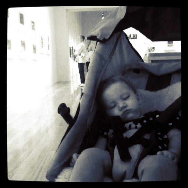 Alice taking a nap at Te Papa's art gallery
