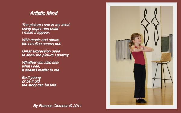 Frances art poem, 2011, & a photo of Charlotte (2010)