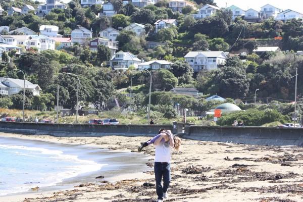 Dan carrying a giggling Charlotte along Island Bay beach