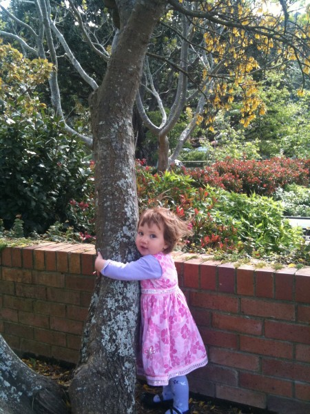 Alice hugging a Kowhai tree