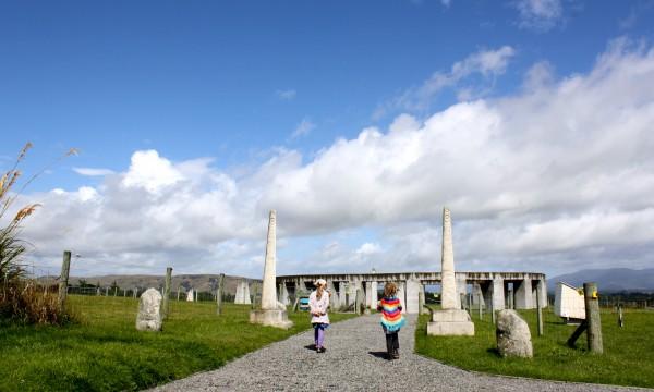 Charlotte and Sophie walking toward Stonehenge Aotearoa