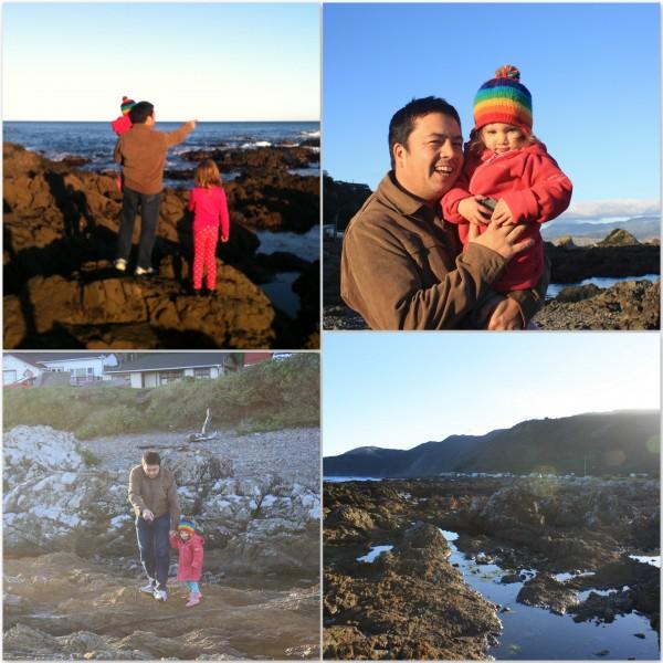 Dan with Sophie & Alice on Wellington's south coast, near Owhiro Bay