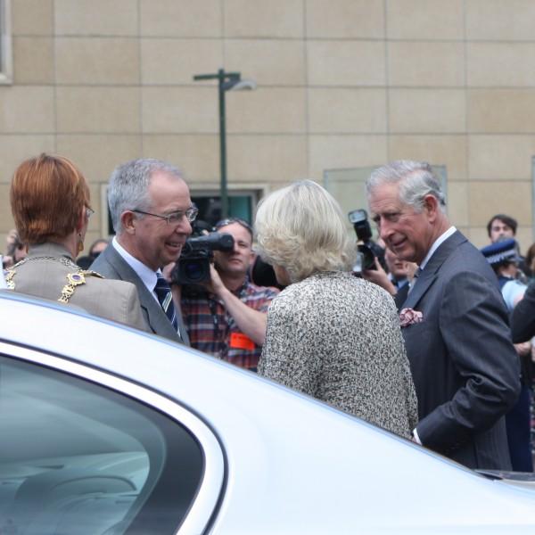 Prince Charles & Camilla greeting the Mayor