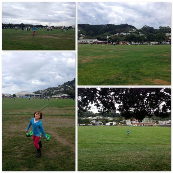 Cheering Daddy on at football - Kilbirnie
