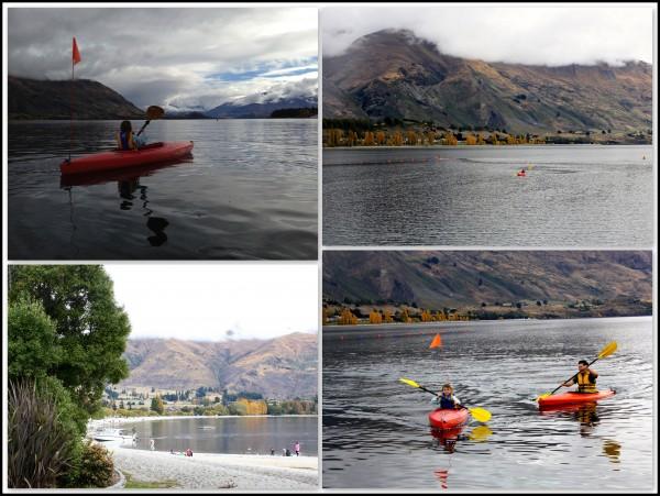 Charlotte and Dan kayaking on Lake Wanaka