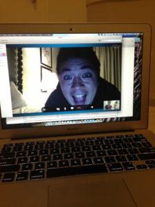 Hubbie on Skype from Santa Barbara