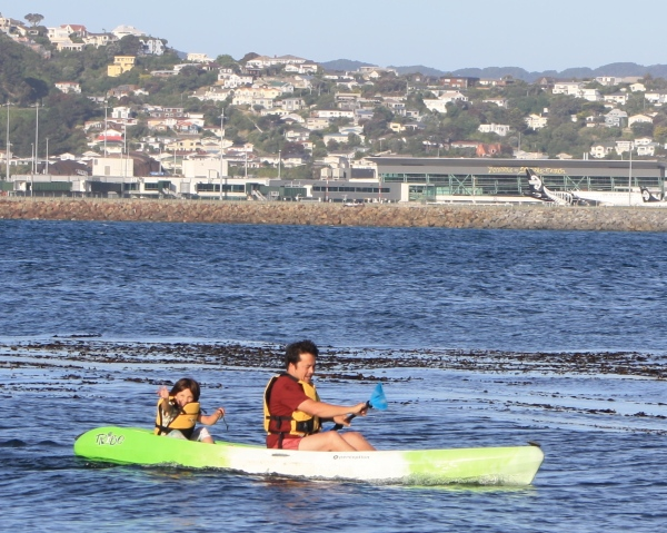 Alice & Dan, Kayaking Lyall Bay New Year's Day