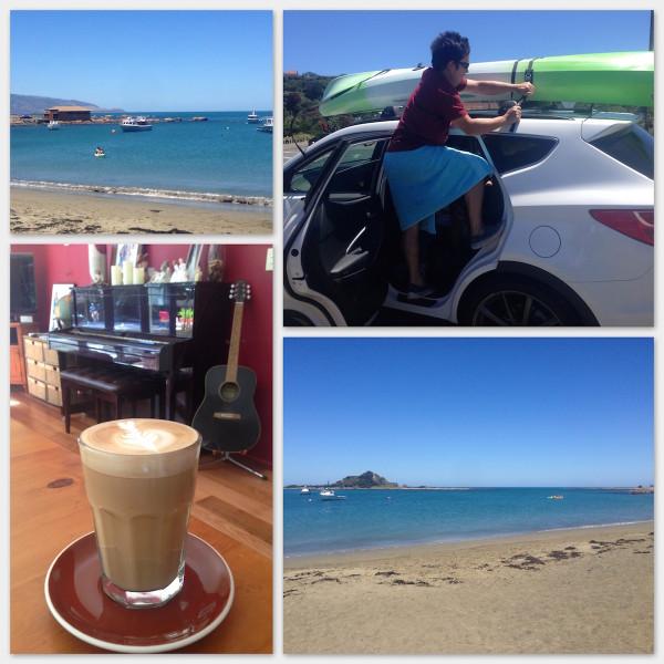 Hubby, kayaking and coffee