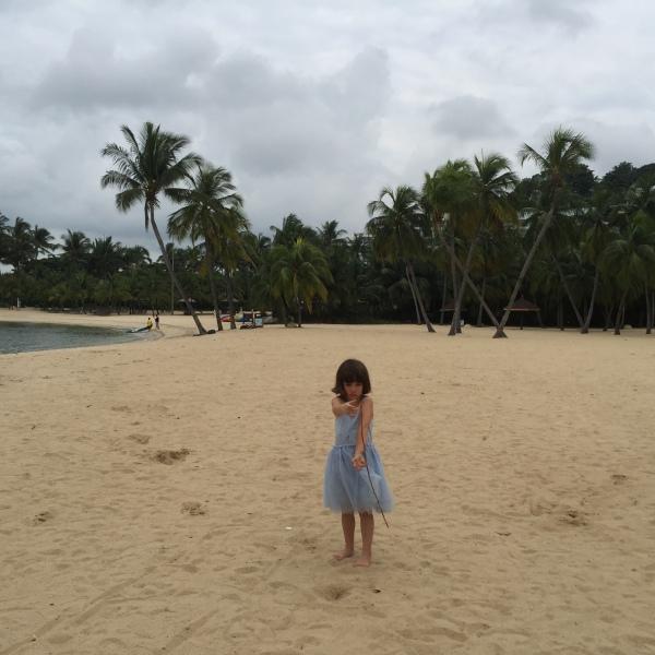 Alice on Siloso Beach, Sentosa Island