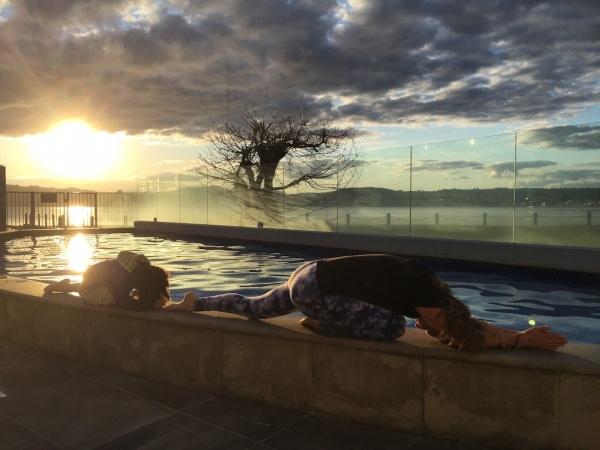 Poolside yoga.