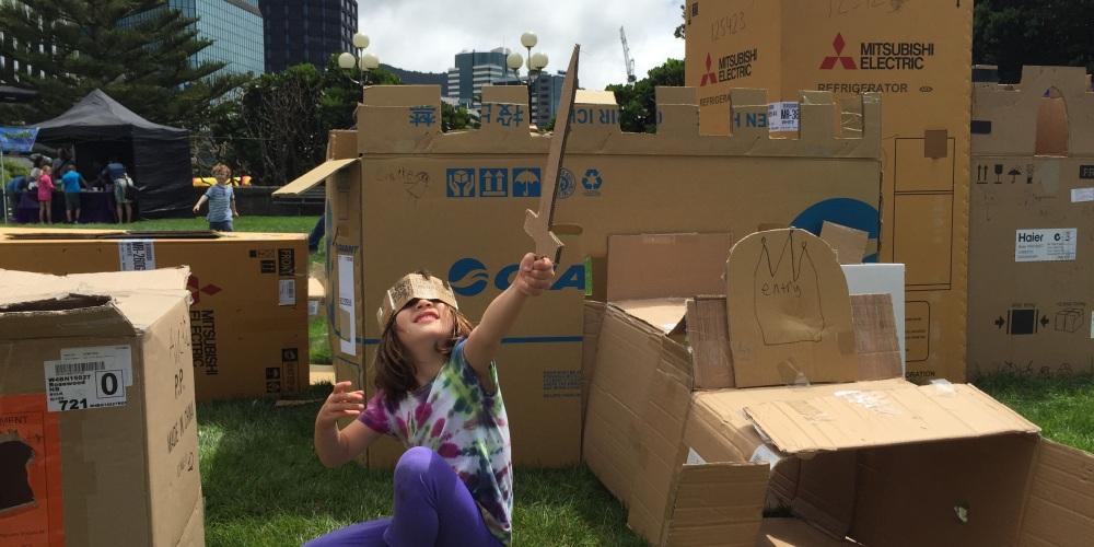 Cardboard City fun - on Wellington Anniversary Day.