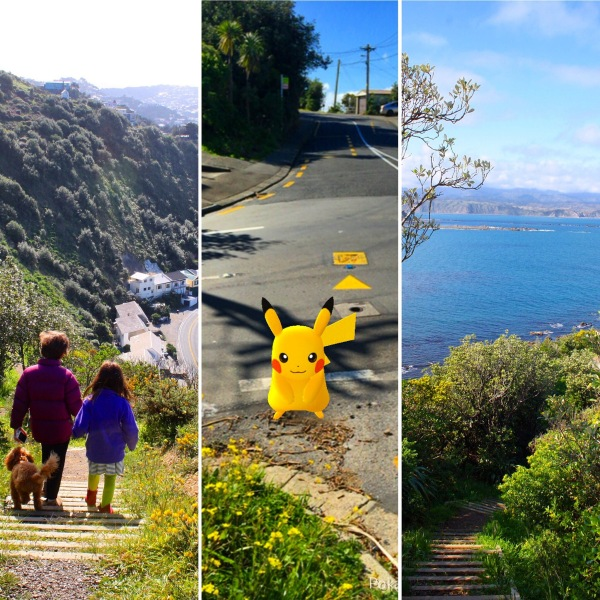 Climbing the hills of Wellington on our Pokemon Go hunts!