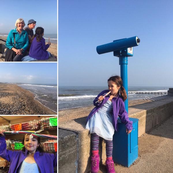 Alice sampling Welsh 'rock' at the beachfront in Rhyl