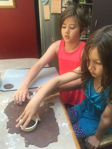 Baking cookies to share with neighbourhood friends on Halloween (well, Beltane in New Zealand!).