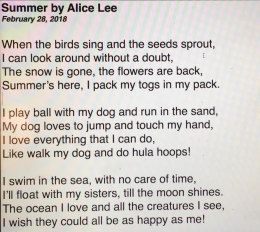 Alice's 'Summer' poem