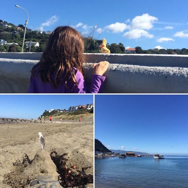 Beach days in early autumn, in Island Bay, Wellington